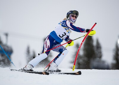 Female skier on the slopes.