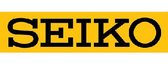 Seiko black text on yellow background logo.