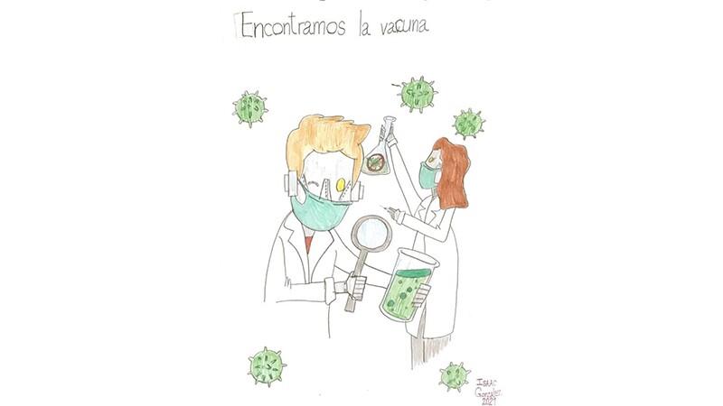 Dibujos de los profesionales de la salud y científicos robots, buscando la vacuna contra el COVID-19.