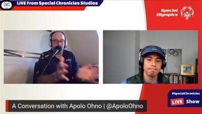 Daniel interviewing Apolo Ohno