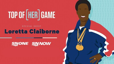 Illustration of Loretta with text that reads: Top of [HER] Game. | Special Guest Loretta Claiborne | SNONE SNNOW