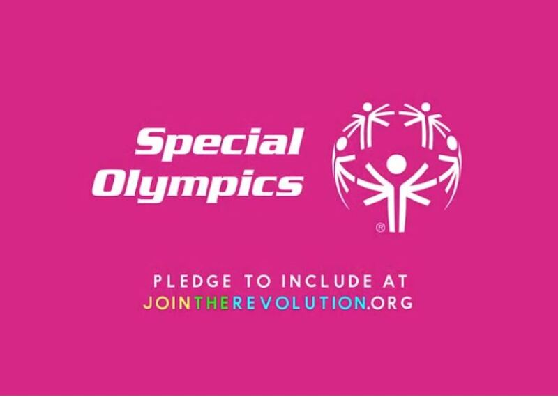 The Revolution is inclusion on a pink background with the Special Olympics Logo in white.
