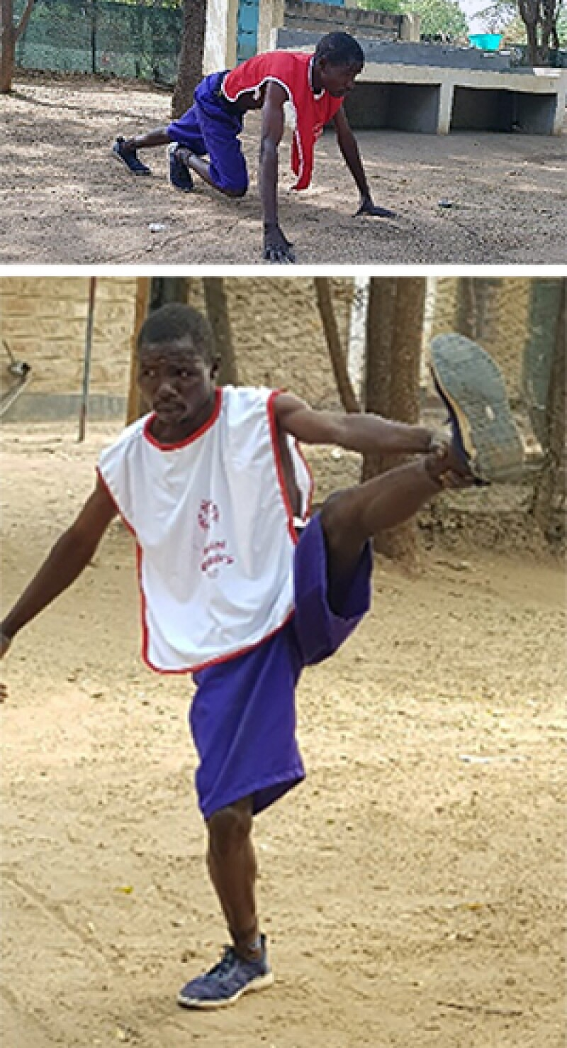 Top image: A young-adult boy gets into race-ready position outside, in a dirt clearing. He wears a Special Olympics jersey. Bottom image: A young-adult boy stands, pulling his left leg up in a stretch. He wears a Special Olympics jersey, outside, on a dirt clearing.