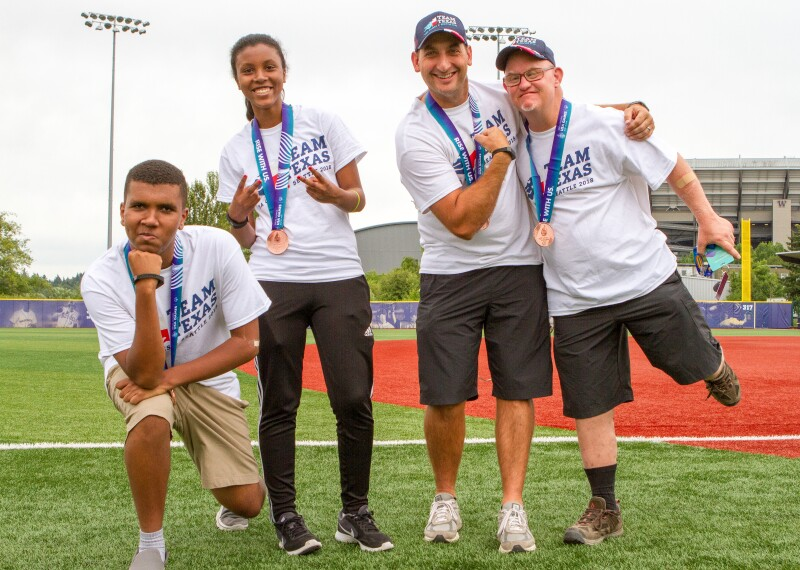 Special Olympics Texas athletes celebrating at 2018 USA Games
