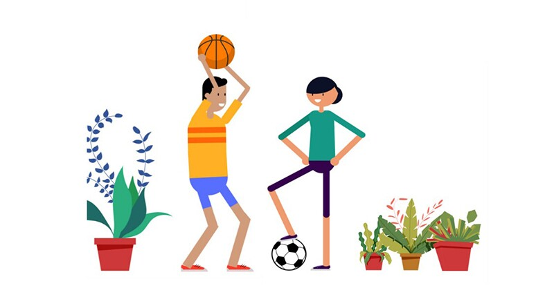 The picture shows a young man and woman facing each other. The man looks like he's preparing to throw a basketball while the woman has a soccer ball at her feet.