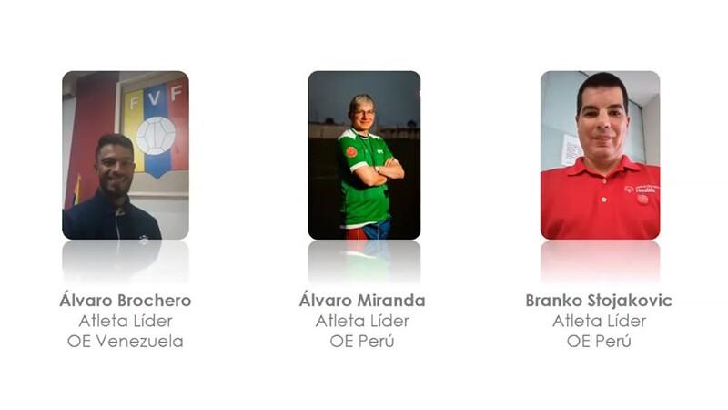 Fotos de tres atletas líderes de América Latina: Álvaro Brochero, de Olimpiadas Especiales Venezuela; Álvaro Miranda, de Olimpiadas Especiales Perú; y Branko Stojakovic, de Olimpiadas Especiales Perú