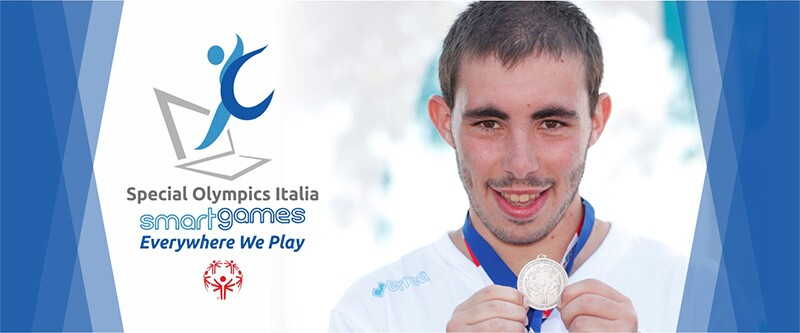 Athlete Federico Correzzola on the Special Olympics Italy Smart Games banner.