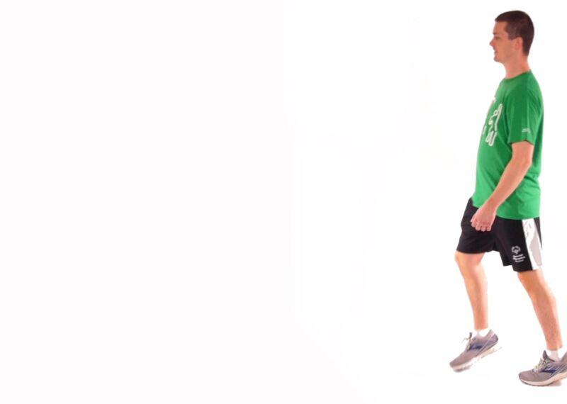 Athlete demonstrating Heel and Toe Walks.