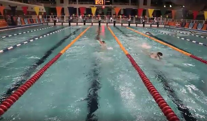 Swimmers racing.