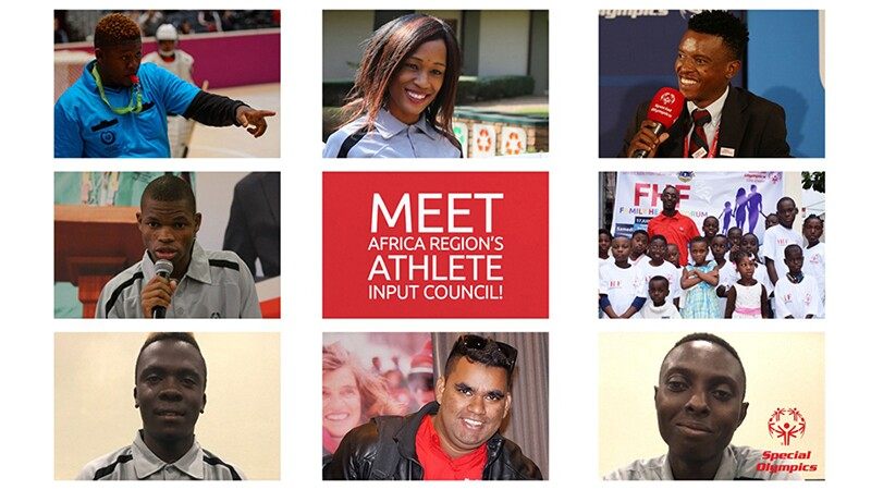 Meet the 8 newest members of the Special Olympics Africa Region's Input Council Clockwise from top left) Jimmy Masina, Joyce Ramabusa, Brightfield Shadi, Yannick Tano, Tomiwa Adeyemo, Al Sayyed Curumthaullee, Boniface Kimeu, and Nyasha Derera.