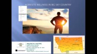 image of a slide that reads: worksite wellness in big sky country. an image of a persons silhouette and a map of Montana.