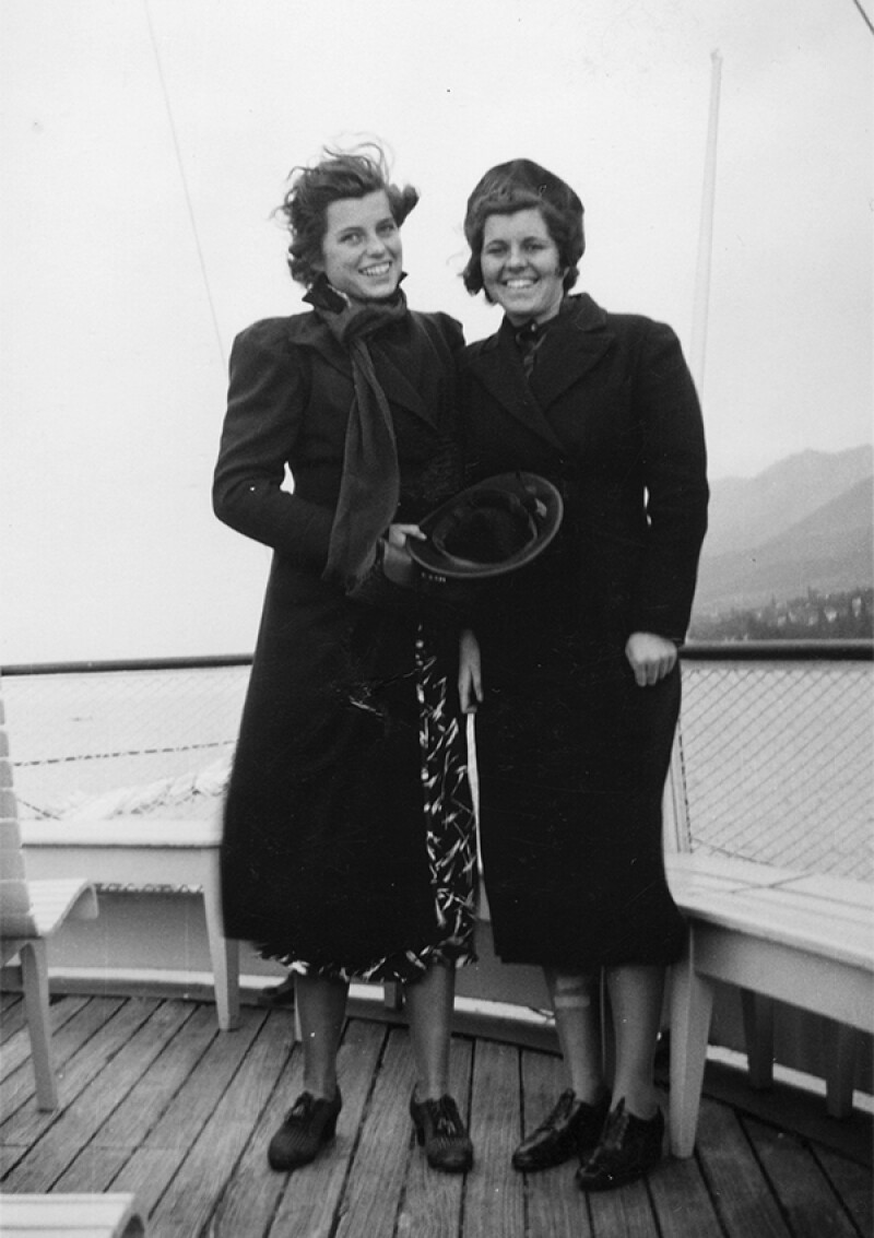 Eunice Kennedy Shriver and Rosemary Kennedy aboard a steamer 'Geneve' on Lake Geneva sailing from Geneva to Montreux, Switzerland, 12 July 1936.