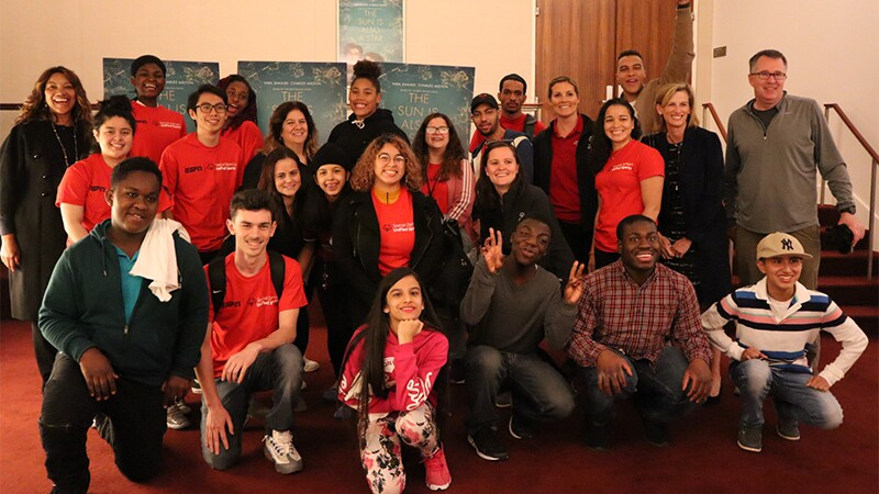 Special Olympics New York poses for a group photo after watching the film.
