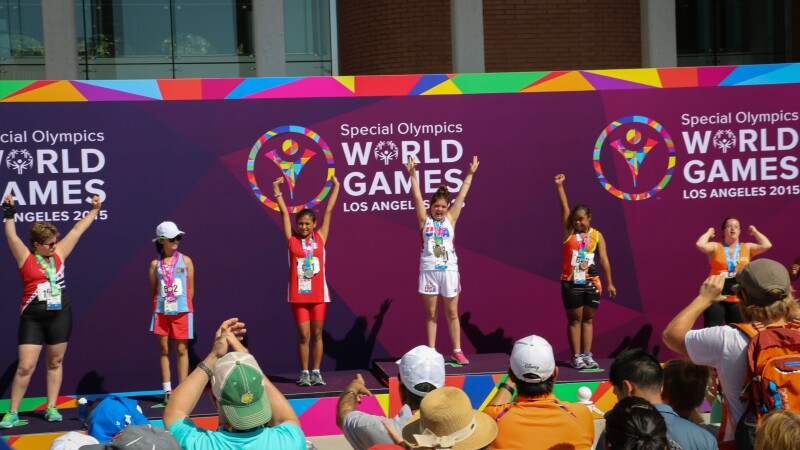 2015 world games track medal stand 2