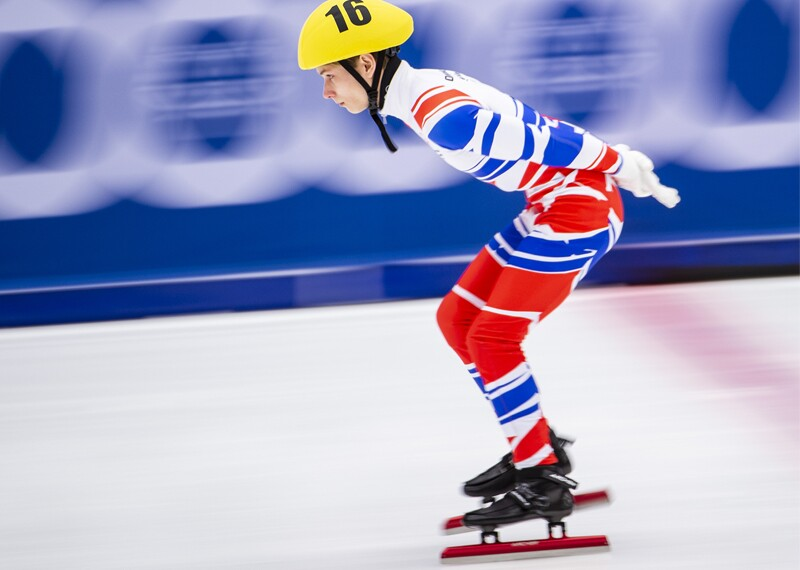 Athlete speed skating