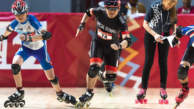 World Games Abu Dhabi 2019: athletes rollerblacing and rollerscating at an event.