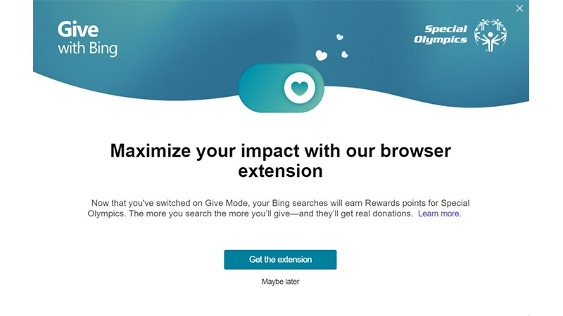Give with Bing image that reads: Maximize your impact with our browser extension.