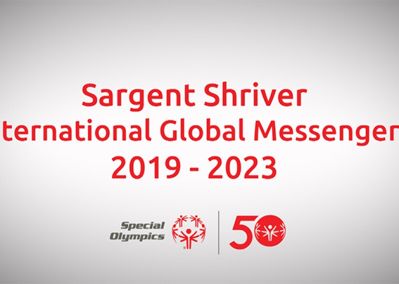 Sargent Shriver International Global Messengers 2019-2023; Special Olympics logo and Special Olympics 50th Anniversary logo