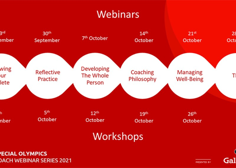 Special Olympics Coach Webinar Series 2021, presented by Gallagher Knowing your Athlete (webinar, 23rd September; Workshop, 28th September); Reflective Practice (Webinar 30th September; Workshop, 5th October); Developing the whole person (Webinar, 7th October; Workshop, 12th October); Coaching Philosophy (Webinar, 14th October; Workshop, 19th October); Managing well-being (Webinar, 21st October, Workshop, 26th October), Final Week Webinar - Topic to be confirmed (Webinar - 28th October).