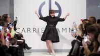 Jamie Brewer on stage at New York Fashion Week.