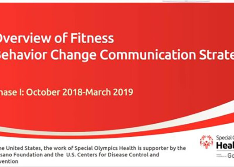 Slide that reads: Overview of Fitness Behavior Change Communication Strategy  - Phase 1: October 2018-March 2019