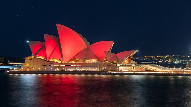 Australian Landmarks Light Up Red for the Special Olympics 50th Anniversary
