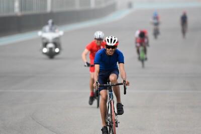 Abhishek Gogoi from Special Olympics India in a bike rac